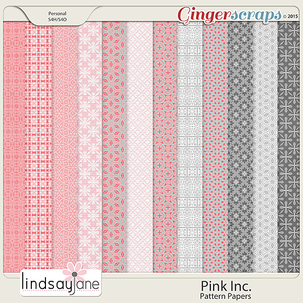 Pink Inc Pattern Papers by Lindsay Jane