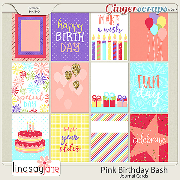 Pink Birthday Bash Journal Cards by Lindsay Jane