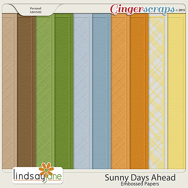 Sunny Days Ahead Embossed Papers by Lindsay Jane