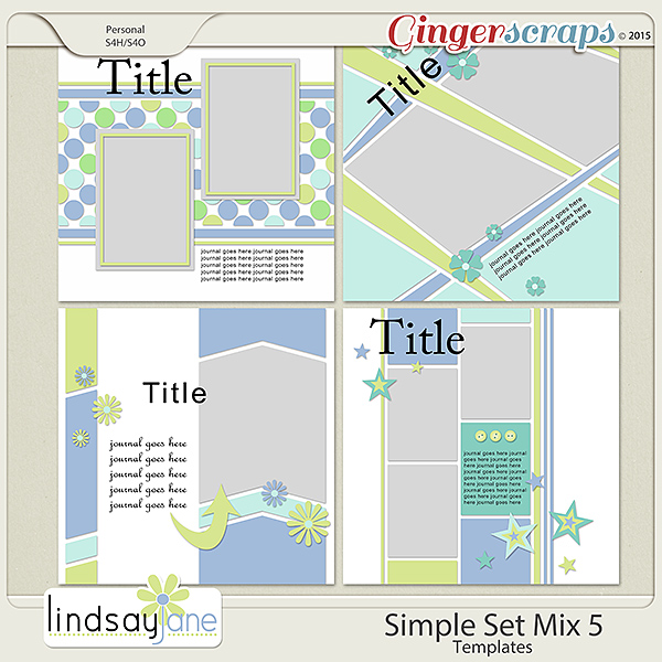 Simple Set Mix 5 Templates by Lindsay Jane