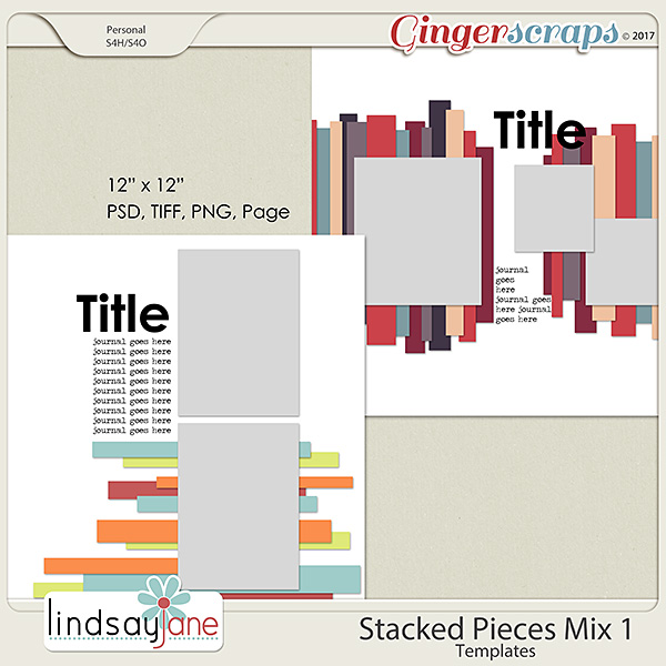 Stacked Pieces Mix 1 Templates by Lindsay Jane