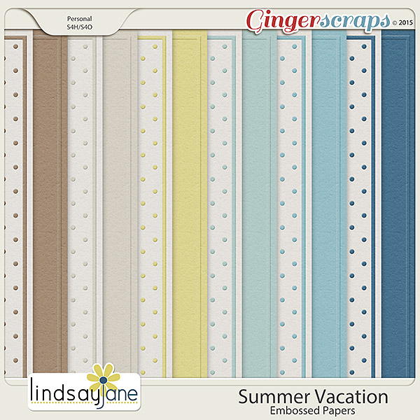 Summer Vacation Embossed Papers by Lindsay Jane