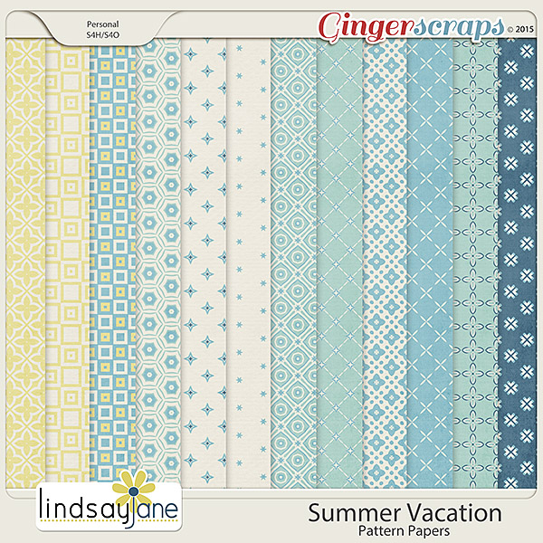 Summer Vacation Pattern Papers by Lindsay Jane