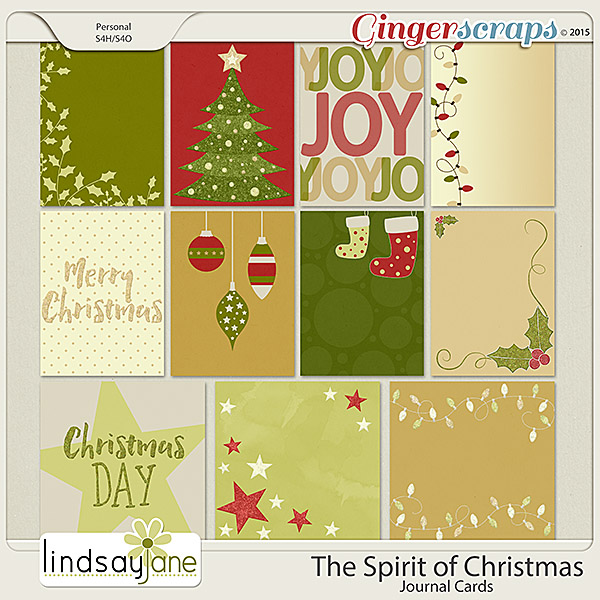 The Spirit of Christmas Journal Cards by Lindsay Jane
