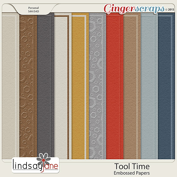 Tool Time Embossed Papers by Lindsay Jane