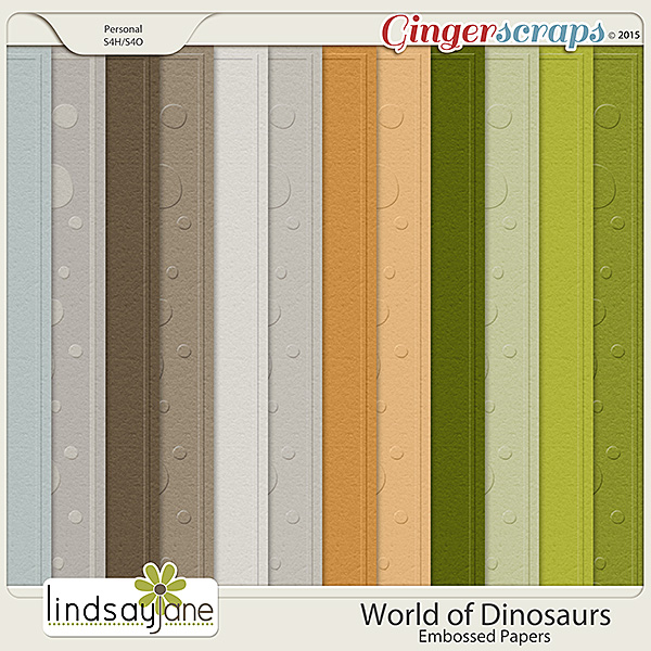 World of Dinosaurs Embossed Papers by Lindsay Jane