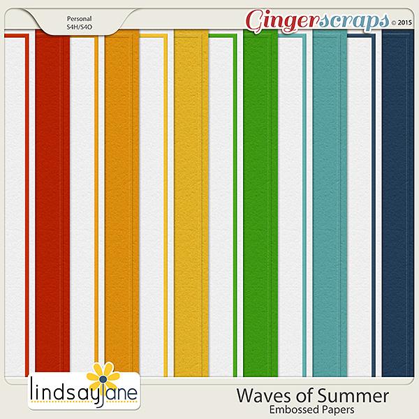 Waves of Summer Embossed Papers by Lindsay Jane