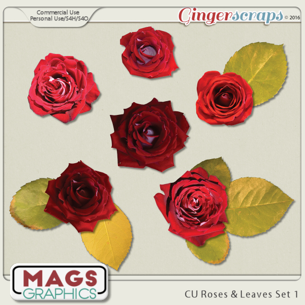 CU PNG Roses & Leaves Pack by MagsGraphics