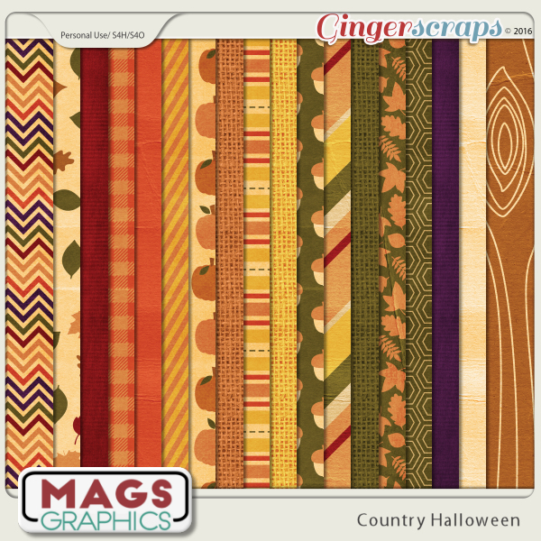 Country Halloween Papers by MagsGraphics
