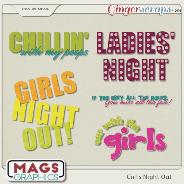 Girls' Night Out WORD ART