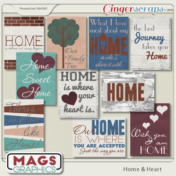 Home & Heart JOURNAL CARDS by MagsGraphics