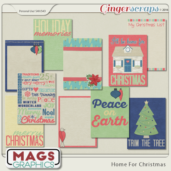 Home For Christmas JOURNAL CARDS by MagsGraphics