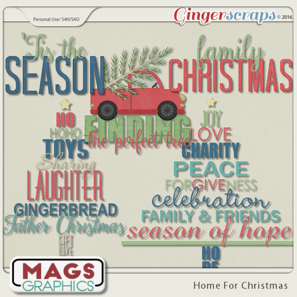 Home For Christmas WORD ART by MagsGraphics