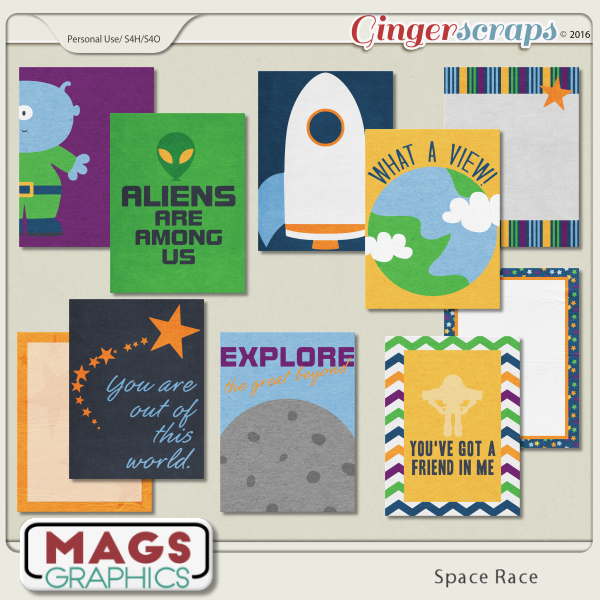 Space Race JOURNAL CARDS by MagsGraphics
