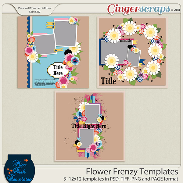 Flower Frenzy Templates by Miss Fish