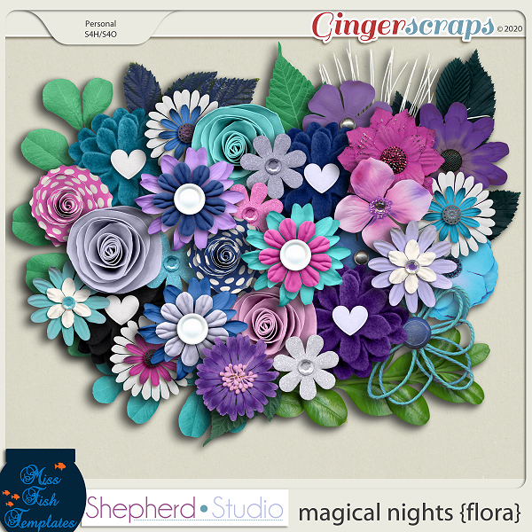 Magical Nights Flora for Digital Scrapbooking by Shepherd Studio and Miss Fish