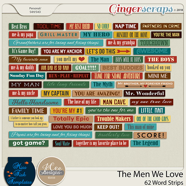 The Men We Love Word Strips by JoCee Designs and Miss Fish