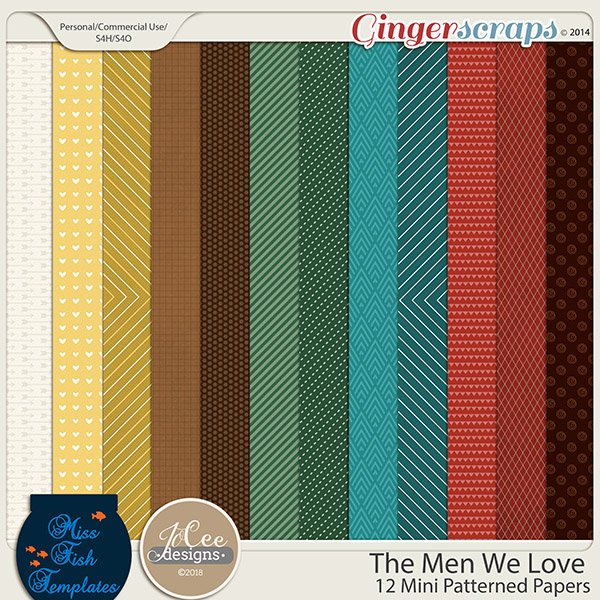 The Men We Love Mini Patterned Papers by JoCee Designs and Miss Fish