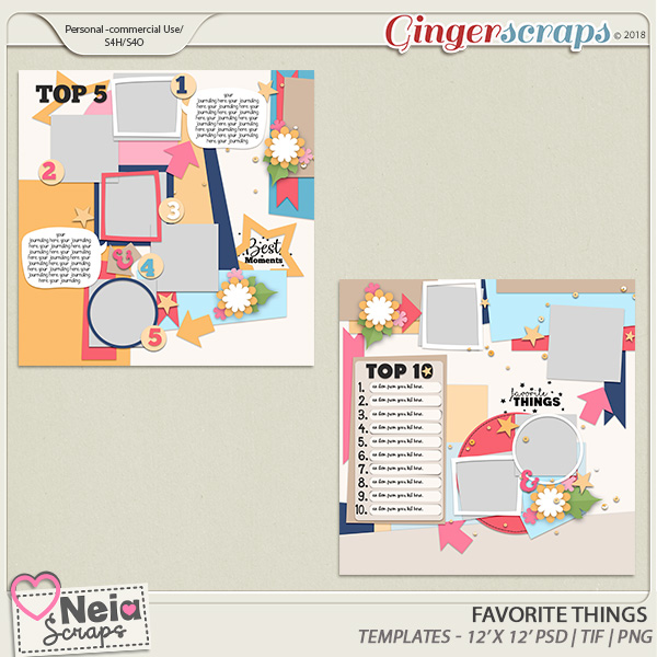 Favorite Things - Templates - By Neia Scraps