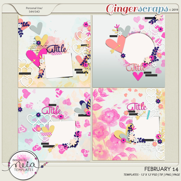 February 14 - Templates - By Neia Scraps