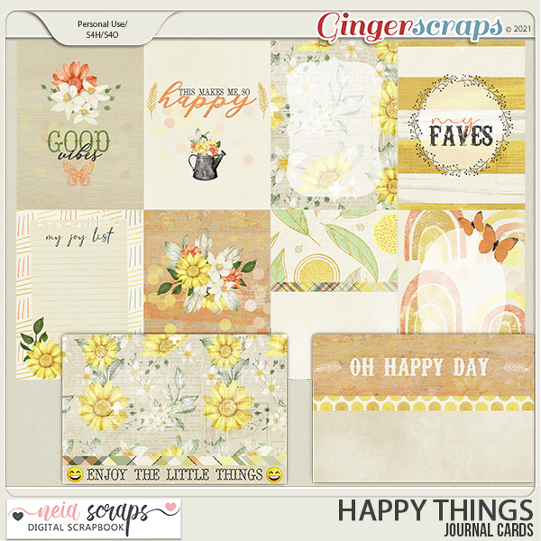 Happy Things - Journal Cards - by Neia Scraps