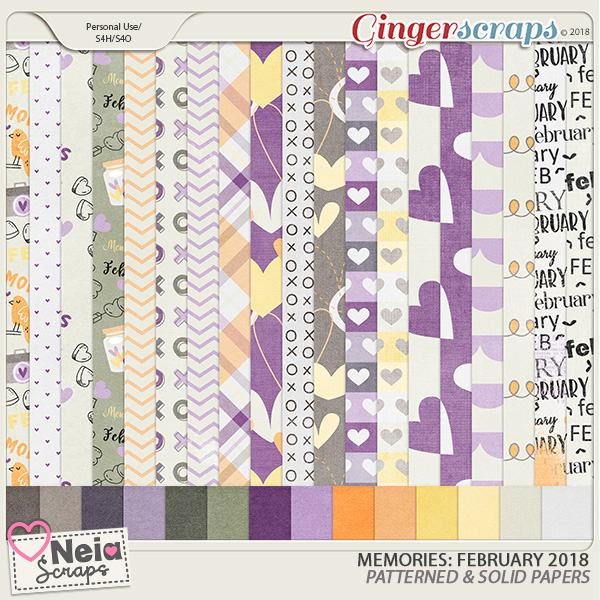 Memories: February 2018 - Patterned & Solid Papers- by Neia Scraps