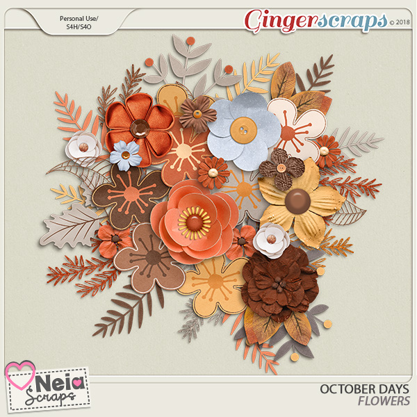 October Days - Flowers - By Neia Scraps
