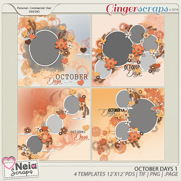 October Days  - Templates 1 - By Neia Scraps