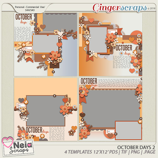 October Days  - Templates 2 - By Neia Scraps