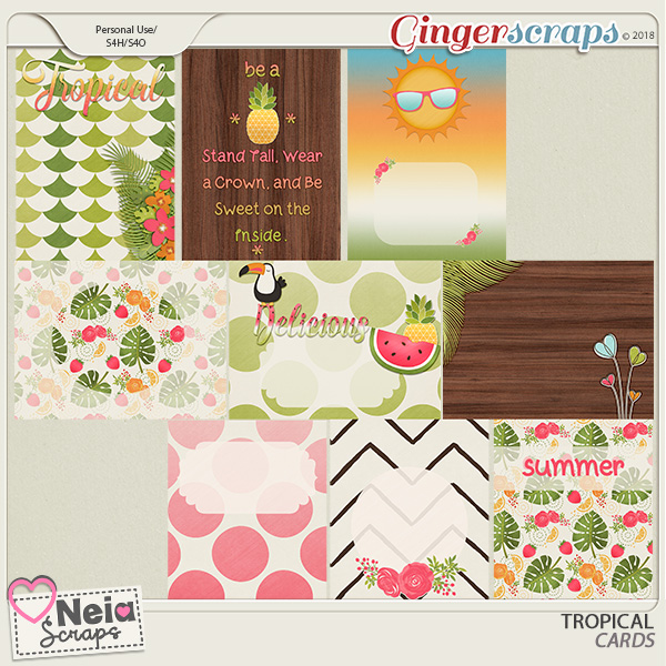 Tropical - Cards- By Neia Scraps