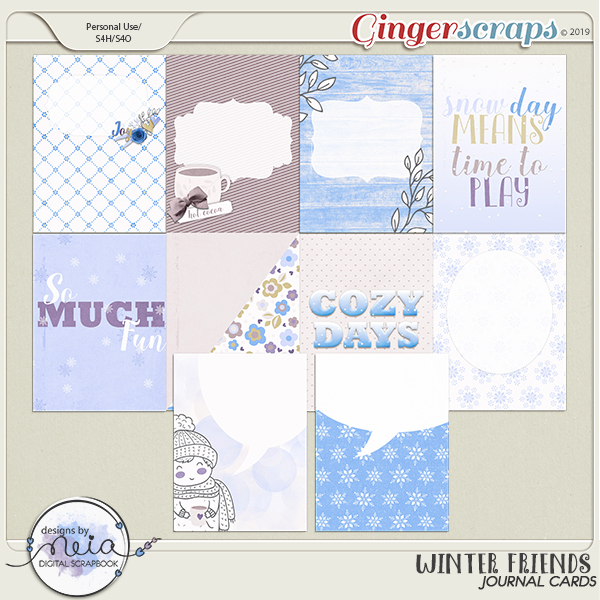 Winter Friends - Journal Cards - by Neia Scraps