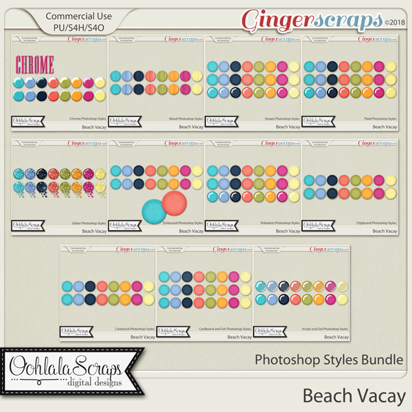 Beach Vacay CU Photoshop Styles Bundle