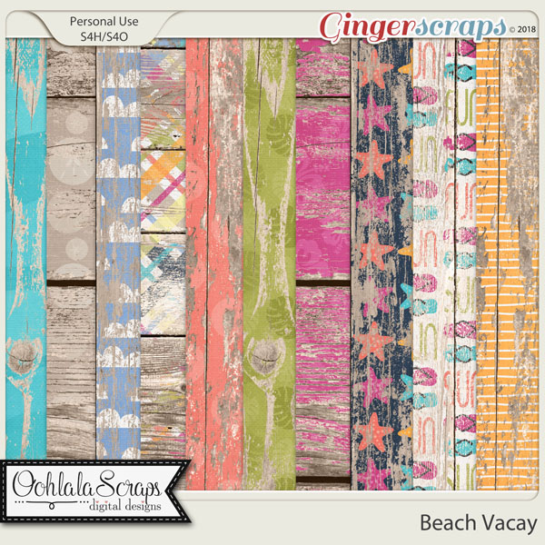 Beach Vacay Worn Wood Papers