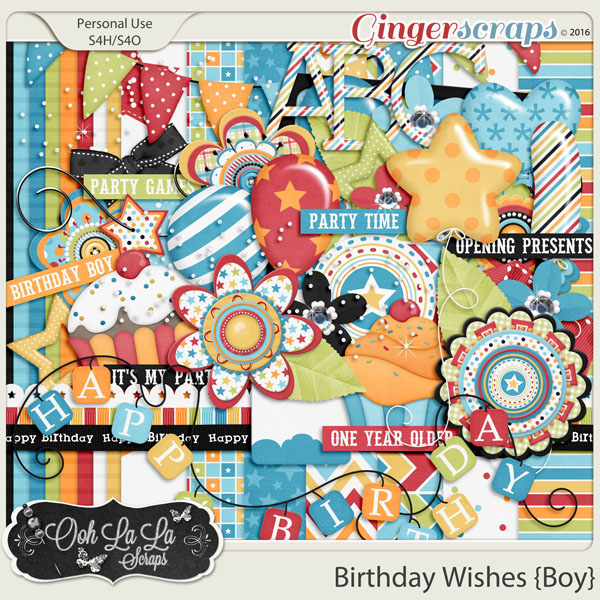 Birthday Wishes Boy Add On Mini Digital Scrapbooking Kit
