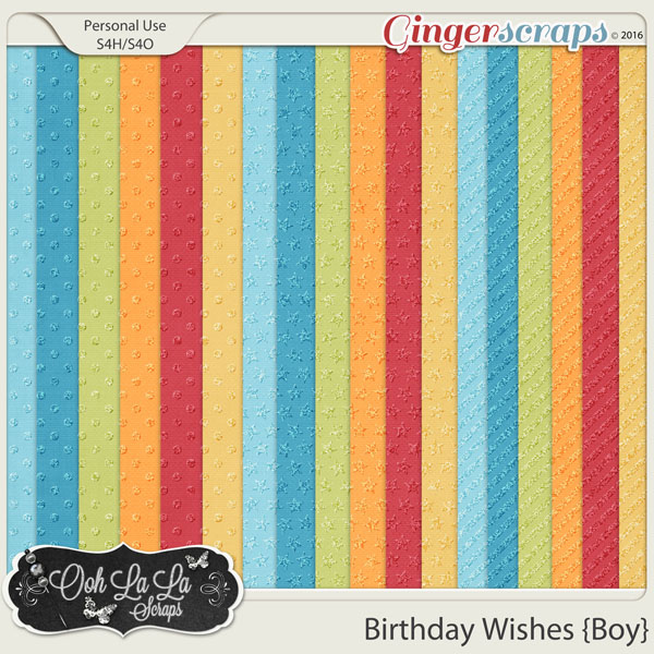 Birthday Wishes Boy Glitter Patterned Papers