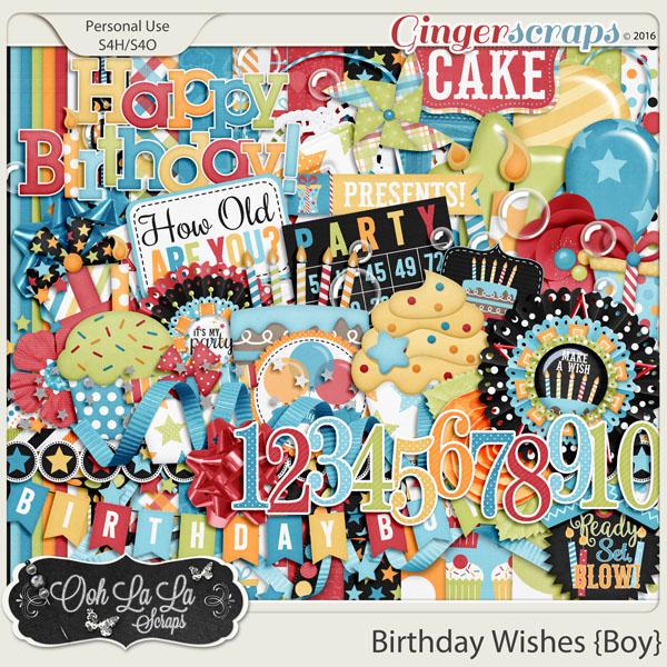 Birthday Wishes Boy Digital Scrapbooking Kit