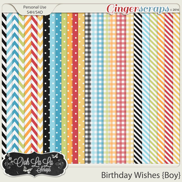Birthday Wishes Boy Patterned Papers