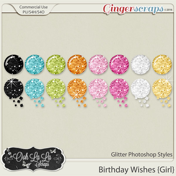 Birthday Wishes Girl Glitter Photoshop Styles