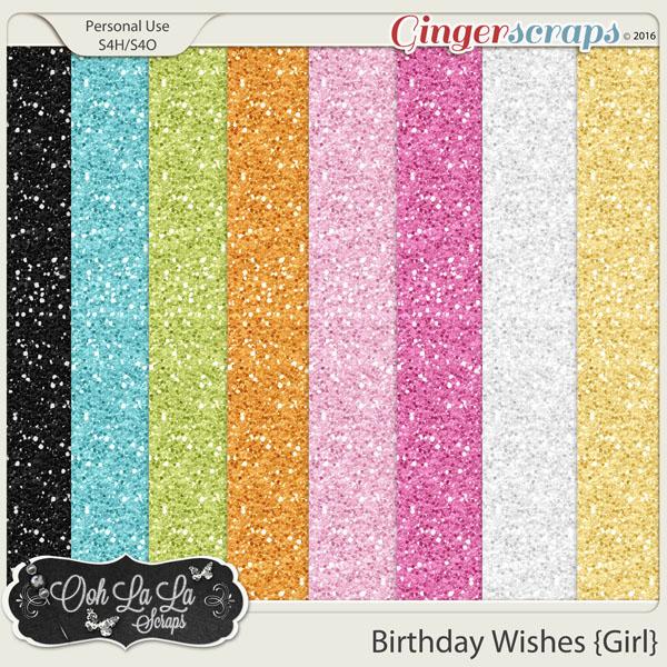 Birthday Wishes Girl Glitter Sheets