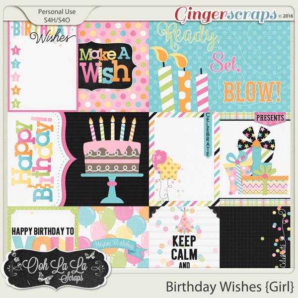 Birthday Wishes Girl Journal and Pocket Scrapbook Cards