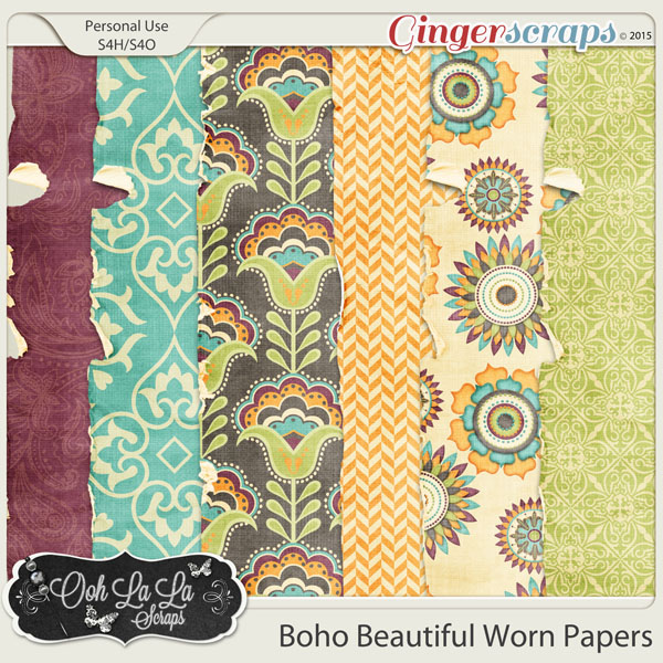 Boho Beautiful Worn and Torn Papers