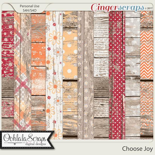 Choose Joy Worn Wood Papers