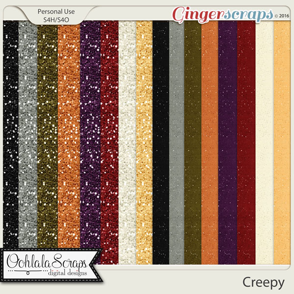 Creepy Glitter Papers