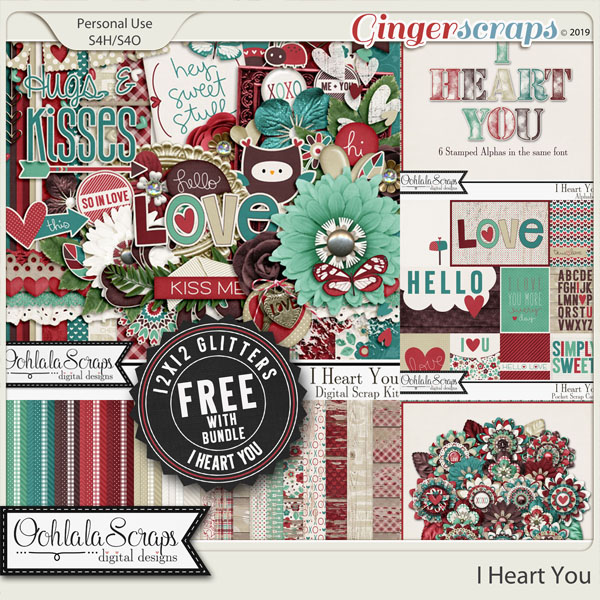 I Heart You Digital Scrapbook Bundle