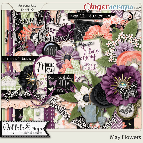 May Flowers Digital Scrapbook Kit