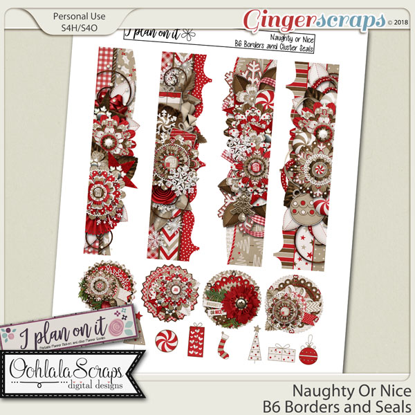 Naughty Or Nice B6 Borders and Cluster Seals Planner Stickers