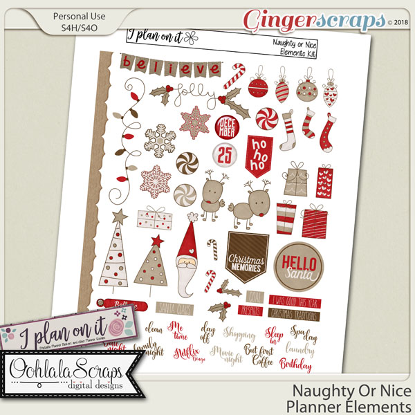 Naughty Or Nice Planner Stickers Elements Pack