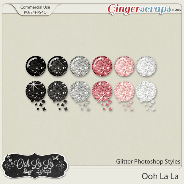 Ooh La La Glitter Photoshop Styles