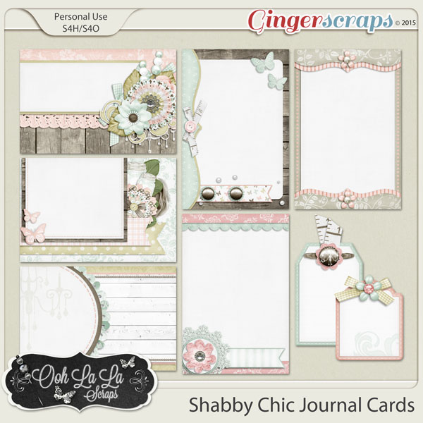 Shabby Chic Journal and Pocket Scrapbooking Cards