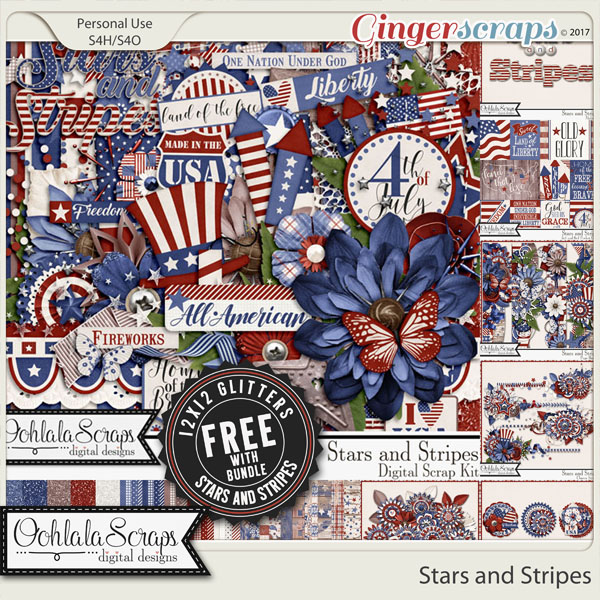 Stars and Stripes Digital Scrapbook Bundle